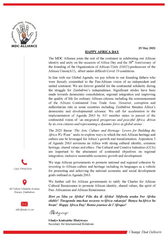 Africa Day Statement MDC